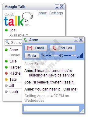 Google Talk, o software de mensagem instantânea e ligações Voip.